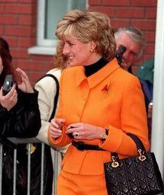 51d656b2b406 Princess Diana in Liverpool carrying her Lady Dior handbag