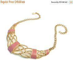 Monet Pink Enamel Statement Necklace, Open Work Design, 3 Dimensional