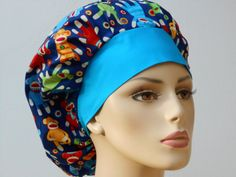 Medical Scrub Hat Colorful Sock Monkeys All Over