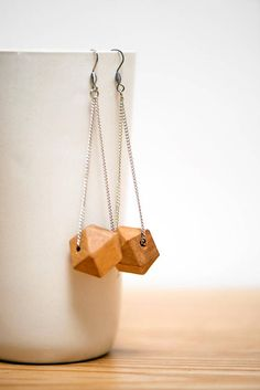 chain & wood earrings silver chain geometric wooden