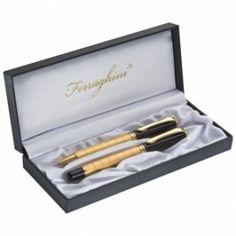Zestaw do pisania ( piśmienny ) Ferraghini złoty, pióro i długopis w etui