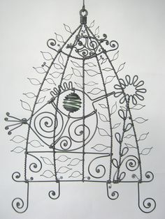 Small+Wire+Birdcage+Sculpture+by+MyWireArt+on+Etsy,+$50.00