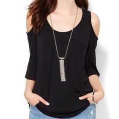 Black cold shoulder scoop neck top NWT! Black cold shoulder top. Size large, very roomy fit. 67% modal, 28% poly, 5% spandex. Very soft and slinky with some stretch. New York & Company Tops Tees - Short Sleeve