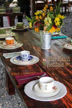 barn wedding, vintage dinnerware, farm tables, wildflowers