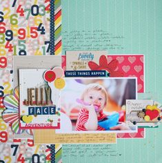 scrapbooking with old and new supplies @ shimelle.com  Love how she used a 6x6 paper on the layout.