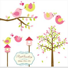 Pink & Green Trees Sets Personal Or Small par pastelstrawberry, $4.00