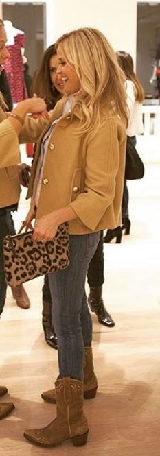 Who made  Reese Witherspoon's cowboy boots, tan jacket, and leopard clutch handbag?