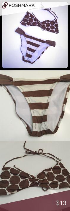 VS bikini Brown and cream bikini. Can be worn as halter or strapless Victoria's Secret Swim Bikinis