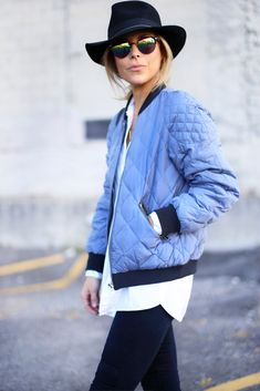 quilted bomber jacket via happily grey Mode Style, Style Me, Style Blog, Happily Grey, Winter Stil, Lookbook, Look At You, Street Chic, Look Fashion