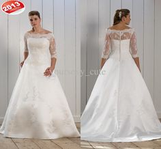 Wholesale 2013 New Style Bateau Three Quater Sleeve A-line Button Applique Plus Size Wedding Dresses, Free shipping, $156.8-169.12/Piece | DHgate