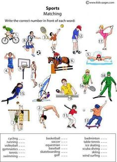 Sports Worksheets for Preschool. √ Sports Worksheets for Preschool. Sports Worksheets for Kids Activity Matching Worksheets, Vocabulary Worksheets, Kindergarten Worksheets, English Vocabulary, Learning German, Teaching English, English Lessons, Learn English, Theme Sport