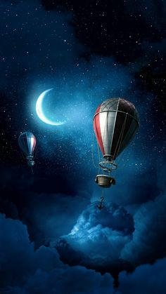 Sometimes the Moon is full of hot air lol. I Wallpaper, Wallpaper Backgrounds, Moon Magic, Moon Art, Hot Air Balloon, Stars And Moon, Oeuvre D'art, Dieselpunk, Belle Photo