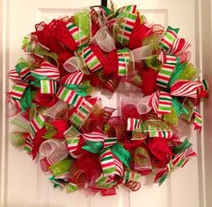 Small Christmas Curly Deco mesh wreath
