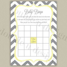 INSTANT DOWNLOAD - Chevron Baby Bingo - Gray with Yellow Accents - Baby Shower Game - Printable DIY on Etsy, $7.00