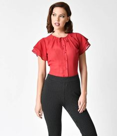No need for a wish list when youve got Jeannie, gals! Presenting a cheerful separate from Unique Vintage, the Jeannie Top is a lovely 1940s style piece thats sure to steal some hearts. Crafted in a gorgeous lightweight chiffon and cast in an elegant bur