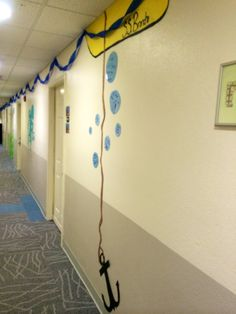 "RA hall decorations---Under the Sea. Could do a ""Don't let your grades sink"" bulletin board"