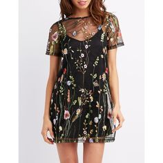 Charlotte Russe Embroidered Mesh Shift Dress (£23) ❤ liked on Polyvore featuring dresses, black combo, shift dresses, mesh slip, flower embroidered dress, floral embroidered dress and floral embroidered mesh dress