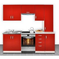 Cuisine otylia rouge 220cm plans de travail inclus. 349 € !! Plus d'infos sur http://www.on-dstock.com/1178-thickbox_fbr/cuisine-otylia-220-cm.jpg