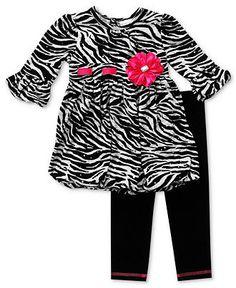 Sweet Heart Rose Girls Set, Little Girls 2-Piece Zebra Tunic and Leggings - Kids Girls 2-6X - Macy's