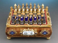 Antique Objets d'Art, Game Boxes, Austro-Hungarian Silver Chess Set ~ M.S. Rau Antiques: