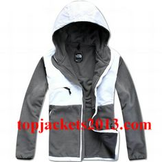 86097695d0a8 The North Face Outlet Mens Denali Hoodie Fleece Jacket Grey White