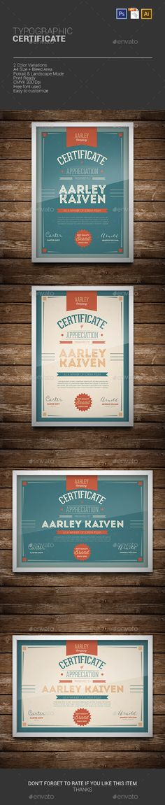 Typographic Certificate Template PSD, Vector EPS, AI. Download here: http://graphicriver.net/item/typographic-certificate/9967310?ref=ksioks