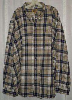 The Foundry Supply Co 4XL Flannel Plaid Big Mens Shirt Tan White Blue Long #TheFoundrySupplyCo #BigTall