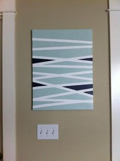 x canvas: Paint: Foam brushes: Painter's tape: Acrylic sealer (matte): To create your own abstract lines begin by applying the painter's tape to the canvas including edges. plan out which color you'd like in each white section apply coat of paint Diy Canvas Art, Diy Wall Art, Diy Art, Abstract Lines, Abstract Art, Home Crafts, Diy Home Decor, Ideias Diy, Diy Painting
