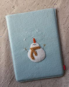 Sweet handmade felt Ipad cover with Christmas Snowman