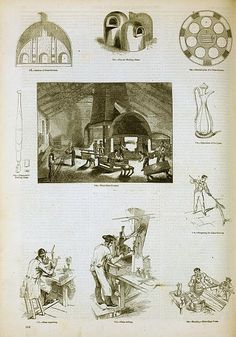 A glassworks in England in 1858. During the Industrial Revolution, techniques for mass-produced glassware were improved.