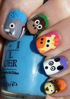 Silly animal nails  #Summer #Nails #DIY