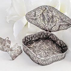 Sterling Silver Earrings, Silver Jewelry Box, Vintage Silver Filigree Earrings, Silver Filigree Jewelry Box, Sterling Silver Keepsake Box