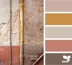worn, apricot, mustard, pink, brown, grey, mauve, beautiful decay, patina, old building exterior