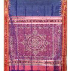 Chakra Border Big Anchal Blue - Odisha Saree Store