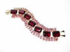 Vintage Pink Rhinestone Bracelet  Prong Set by thejewelseeker