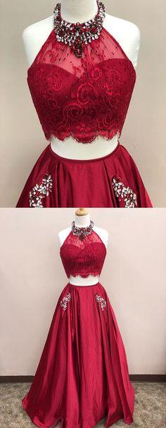 Two Piece Jewel Dark Red Satin Prom Dress with Pockets Beading