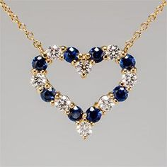 TIFFANY HEARTS PENDANT NECKLACE BLUE SAPPHIRE DIAMOND IN 18K YELLOW GOLD  1,699.00 USD