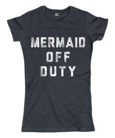 This Heather Blue 'Mermaid Off Duty' Fitted Tee by LC Trendz Junior's is perfect! #zulilyfinds