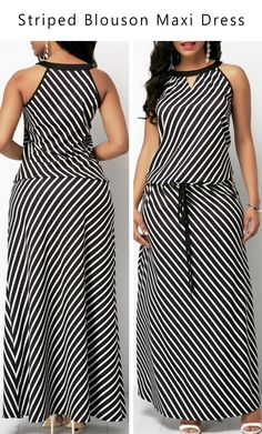 Stripe Print V Cutout Drawstring Waist Sleeveless Blouson Maxi Dress #liligal #dresses #womenswear #womensfashion