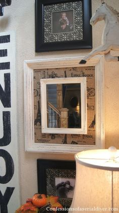 A framed and matted, framed mirror.  I may have just confused myself a little, but I love simple, 1-day projects like this one.  Instant gratification!  Texture on the wall!  Architectural interest in the room!  And the larger frame's backer could be just fabric-covered cardboard and no one would know!  And now I'm a little sad because I don't have the materials sitting around to do this at this very moment.