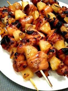 Hawaiian Chicken and Pineapple Skewers