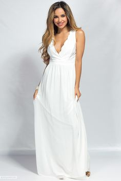 Sleeveless Deep V Long White Chiffon Maxi Dress with Lace Bodice Maxi  Gowns 0fbb0cb60bc
