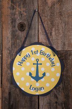 Nautical Door Sign Birthday - Yellow & Navy Blue
