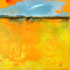 Semi-abstract landscape original painting - Cirrus over lazy fields Paul Bailey