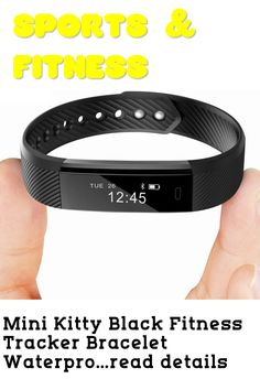 Mini Kitty Black Fitness Tracker Bracelet Waterproof Smart Wristbands for Men Women Boys Girls iOS Android Smartphone ... (This is an affiliate link) #fitnesstracker Fitness Tracker Bracelet, Best Fitness Tracker, Black Fitness, Android Smartphone, Fitbit Alta, Boy Or Girl, Ios, Kitty, Bracelets
