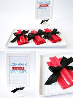a sweet, little diploma when removed from its package and tied up with black, satin ribbon