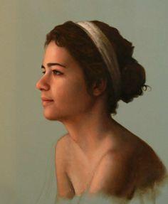 Cesar Santos     Cuban born Figurative American painter   Tutt'Art@ () Cesar Santos, Female Profile, Profile Woman, Frida And Diego, Oil Painting Pictures, Oil Portrait, Figure Painting, Woman Face, Figurative Art