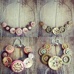 Dolly did it button necklaces, ready for markets.  Pretty in Pink and Graceful Greenery.