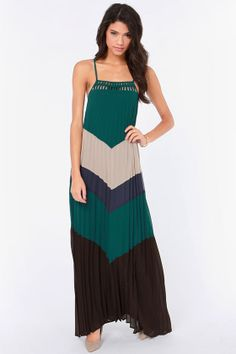 Love at First Height Dark Teal Color Block Maxi Dress at LuLus.com! 50.00