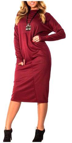 Long-Sleeve O-Neck Fall Winter Plus Size Long Base Dress